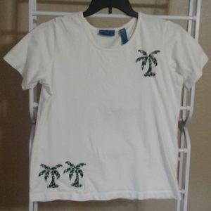 Karen Scott Sport Embroidered Palm Tree Tee PL